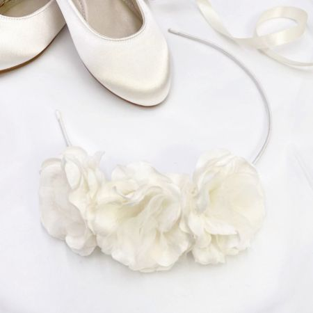 Rosie Three Flower Ivory Flower Girl Headband