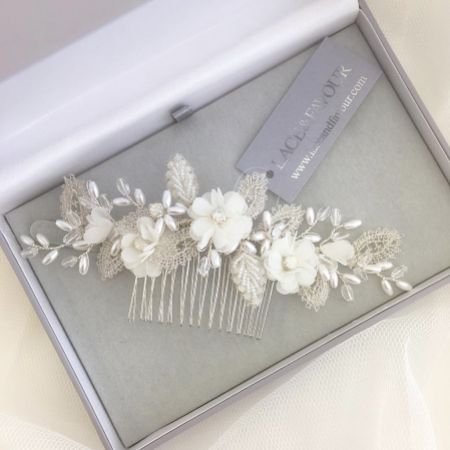 Sabrina Beaded Leaves and Opal Crystal Ivory Flowers Hair Comb