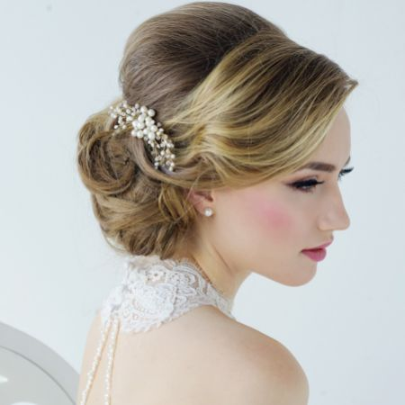 SassB Nita Freshwater Pearl Gold Wedding Hair Comb
