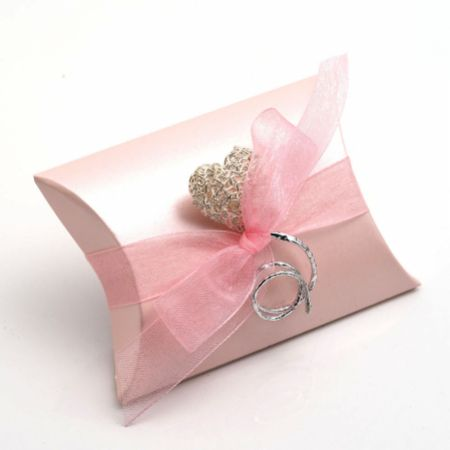 Satin Pink Bustina Favour Box - Pack of 10
