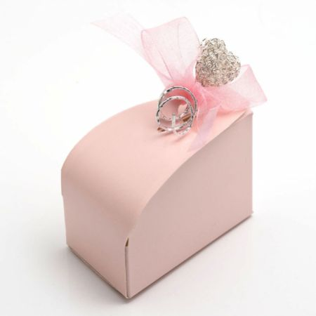 Satin Pink Cake Favour Box - Pack of 10