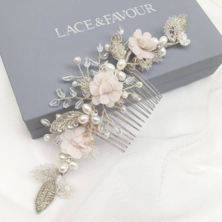 Tabitha Silver Leaves and Blush Flowers Pearl Hair Comb