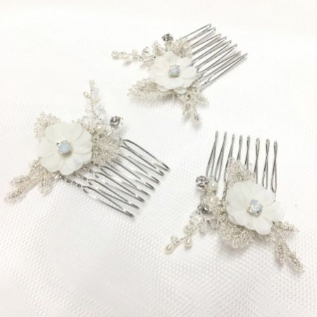 Tamsin Set of 3 Opal Crystal Flower Mini Combs