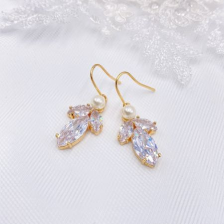 Vermont Gold Pearl and Crystal Drop Earrings