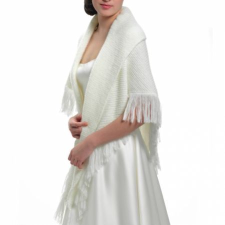 Viktoria Ivory Knitted Wedding Cape with Fringe