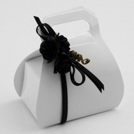 White Glossy Handbag Favour Box - Pack of 10