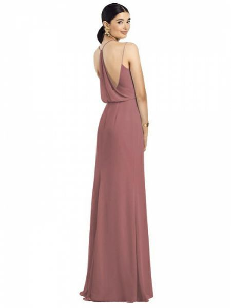 After Six Draped Blouson Back Chiffon Maxi Bridesmaid Dress 1527