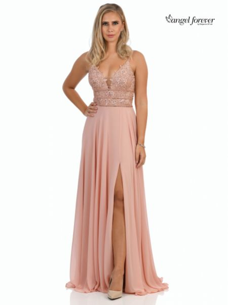 Angel Forever Beaded Lace A Line Chiffon Prom Dress with Slit (Rose Pink)