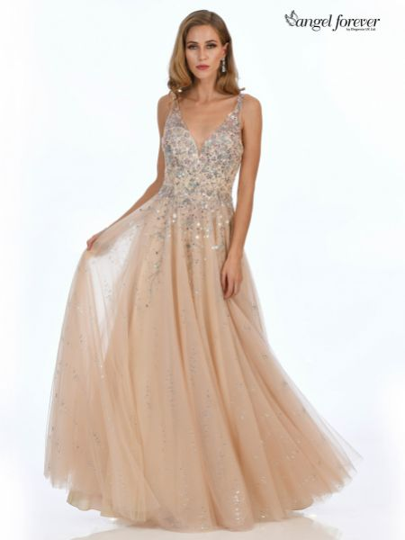 Angel Forever Beaded V Neck Sparkly Tulle Ball Gown Prom Dress (Blush)