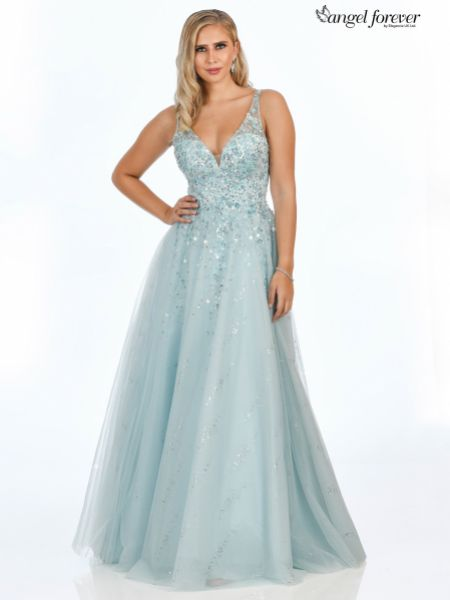 Angel Forever Beaded V Neck Sparkly Tulle Ball Gown Prom Dress (Ice Blue)