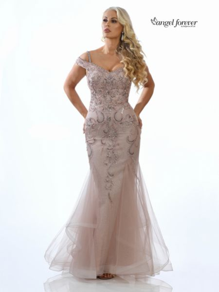 Angel Forever Embellished Shimmer Tulle Fishtail Prom Dress (Rose Gold)