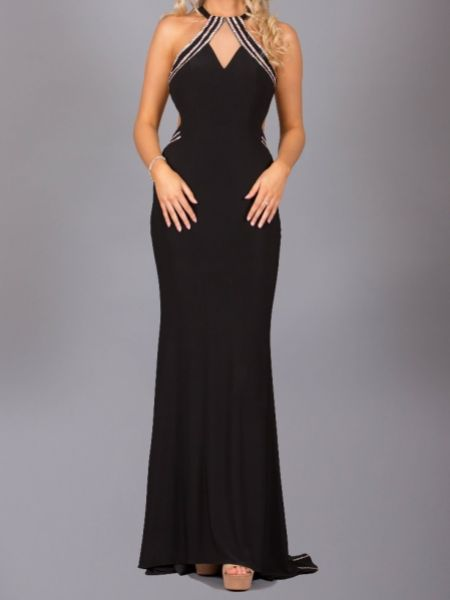 Angel Forever Halter Neck Diamante Embellished Backless Prom Dress