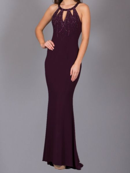 Angel Forever Halter Neck Low Back Fitted Jersey Prom Dress (Dark Plum)