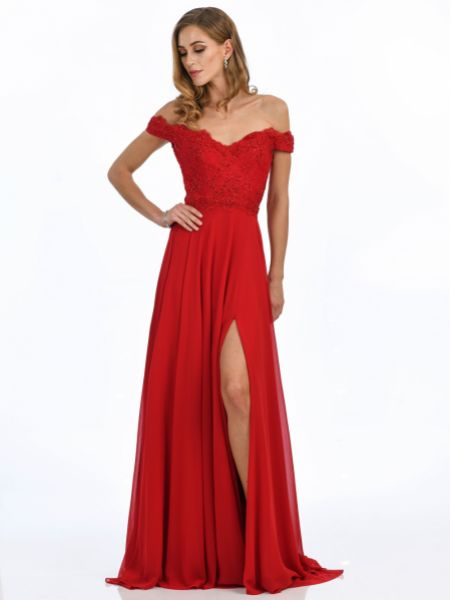 Angel Forever Off The Shoulder Chiffon Prom Dress with Lace Bodice (Red)