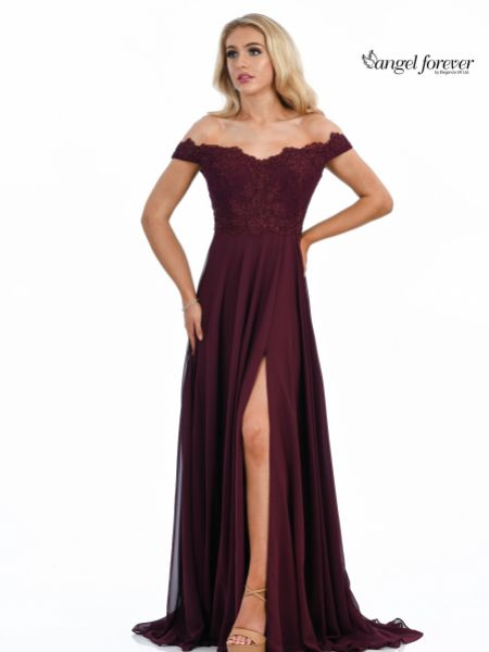 Angel Forever Off The Shoulder Chiffon Prom Dress with Lace Bodice (Wine)