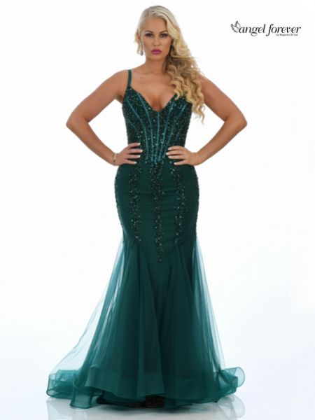 Angel Forever Sequin Embellished Corset Mermaid Prom Dress (Emerald)