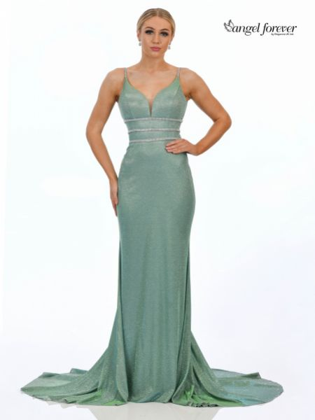 Angel Forever Shimmer Fabric Fishtail Prom Dress with Diamante Detail (Mint)