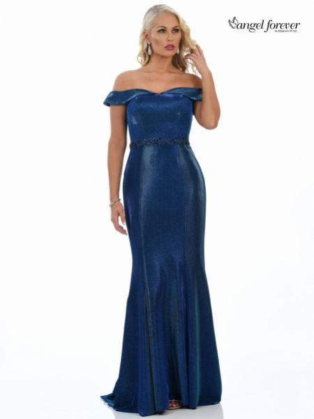 Angel Forever Shimmer Fabric Off The Shoulder Prom Dress (Royal Blue)