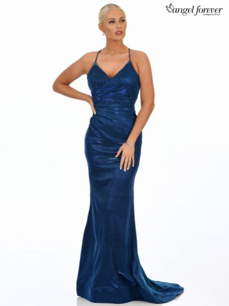Angel Forever Shimmer Fabric V Neck Fitted Backless Prom Dress (Royal Blue)
