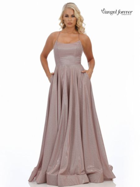 Angel Forever Sparkly A Line Backless Prom Dress with Pockets (Rose Gold)