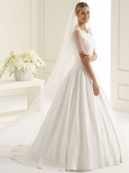 Bianco Ivory Two Tier Swarovski Crystal Chapel Veil with Corded Edge S221