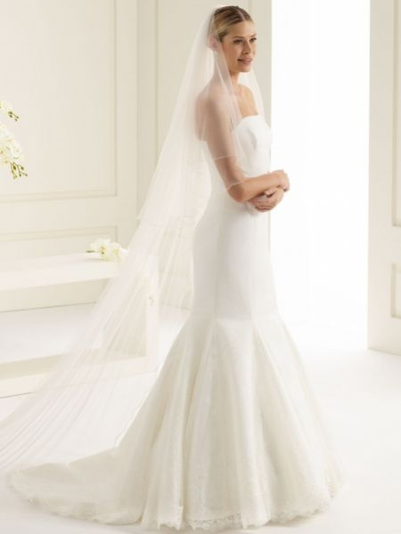 Bianco Plain Two Tier Cathedral Veil with Corded Edge S143