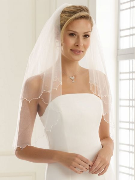 Bianco Two Tier Waist Length Veil with Glass Bead Edge S141