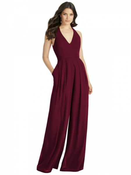 Dessy Collection Arielle V-Neck Backless Pleated Front Jumpsuit 3046