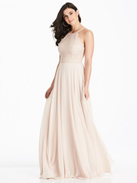 Dessy Collection Lace Bodice Halter Maxi Bridesmaid Dress 3017