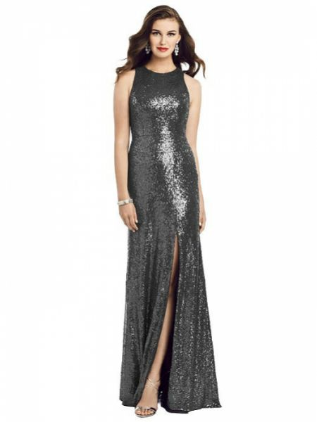 Dessy Collection Long Sequin Sleeveless Gown with Front Slit 3053