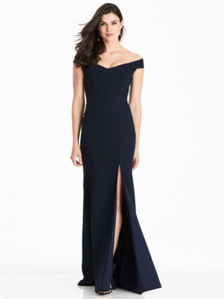 Dessy Collection Off-the-Shoulder Criss Cross Back Bridesmaid Dress 3012