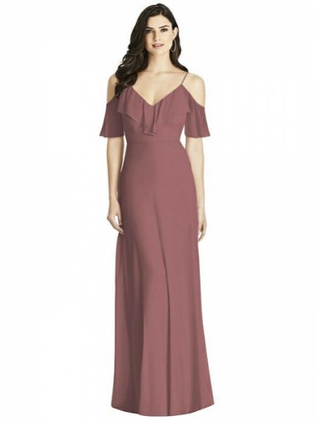 Dessy Collection Ruffled Cold-Shoulder Chiffon Maxi Bridesmaid Dress 3020