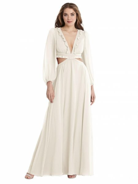 Harlow Bishop Sleeve Ruffled Chiffon Maxi Boho Wedding Dress