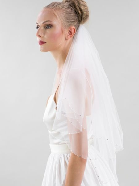 Joyce Jackson Deri Scalloped Edge Veil with Diamante and Crystal