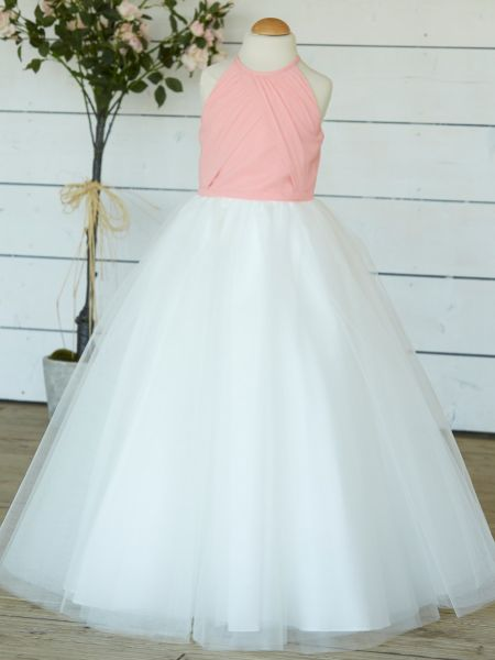 Linzi Jay Chiffon and Tulle High Neck Flower Girl Dress FK058