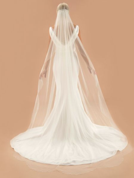 Linzi Jay Crystal and Pearl Scalloped Edge Veil V726