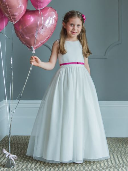 Linzi Jay Satin and Tulle Flower Girl Dress with Lace and Taffeta Band FL603