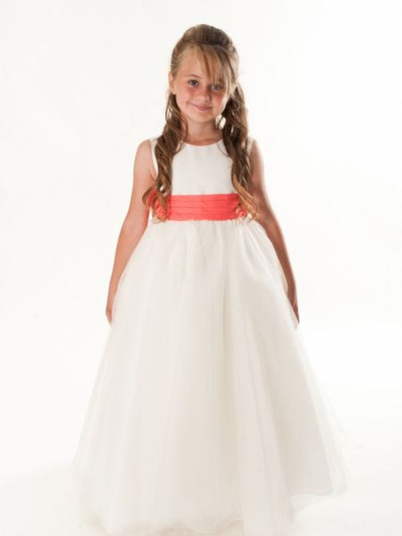 Linzi Jay Satin and Tulle Flower Girl Dress with Taffeta Sash and Bow FK072