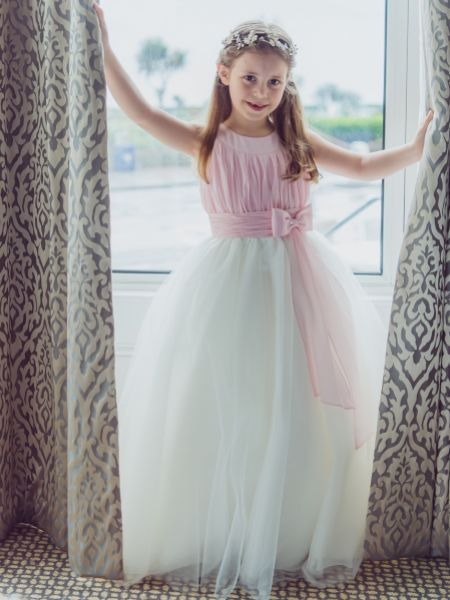 Linzi Jay Tulle Flower Girl Dress with Ruched Chiffon Bodice FK051