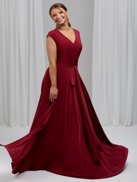 Only Way Cap Sleeve Wrap Bridesmaid Dress