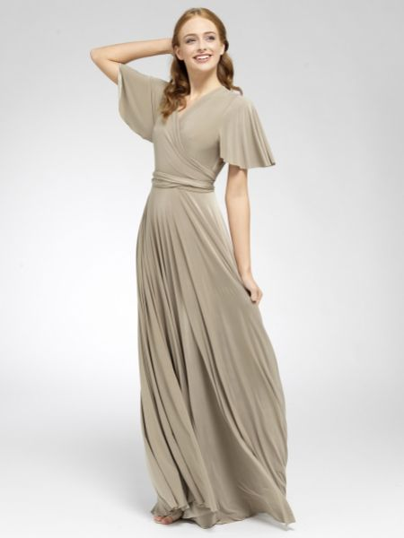Only Way Flutter Sleeve Maxi Wrap Bridesmaid Dress