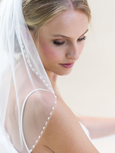 Rainbow Club Azalea Ivory Short Beaded Edge Single Tier Veil