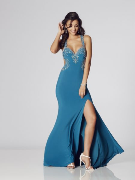 Tiffanys Illusion Prom Carla Jersey Backless Prom Dress with Slit