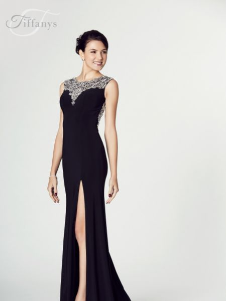 Tiffanys Illusion Prom Leah Jersey Open Back Prom Dress with Slit