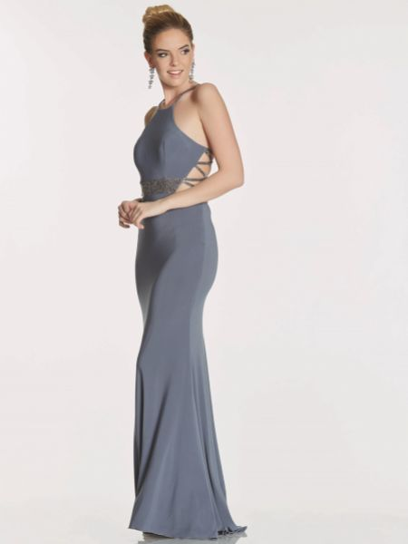 Tiffanys Illusion Prom Lorna Fitted Jersey Prom Dress with Crossover Straps