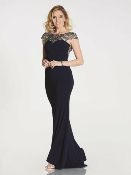 Tiffanys Illusion Prom Lorraine Beaded Neckline Jersey Fitted Prom Dress