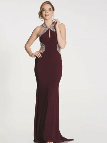 Tiffanys Illusion Prom Nancy Embellished Jersey Backless Prom Dress