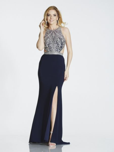Tiffanys Illusion Prom Samira Beaded Cut Out Prom Dress with Slit