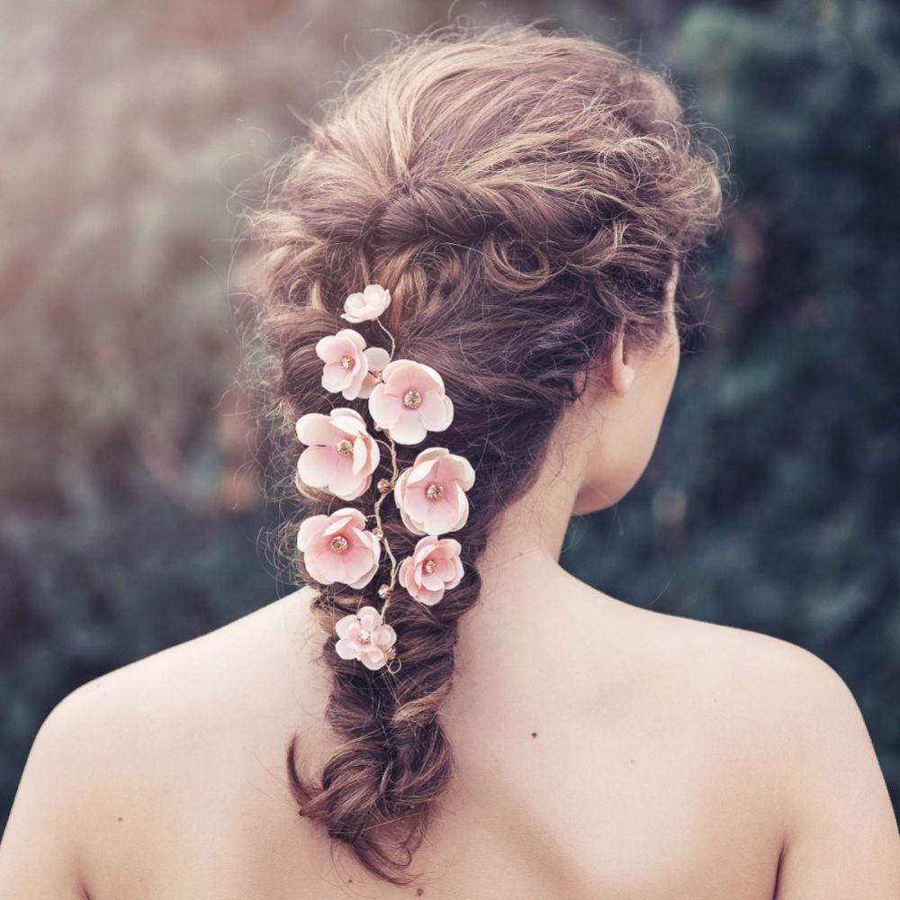 Adele Blush Flowers Bridal Hair Vine