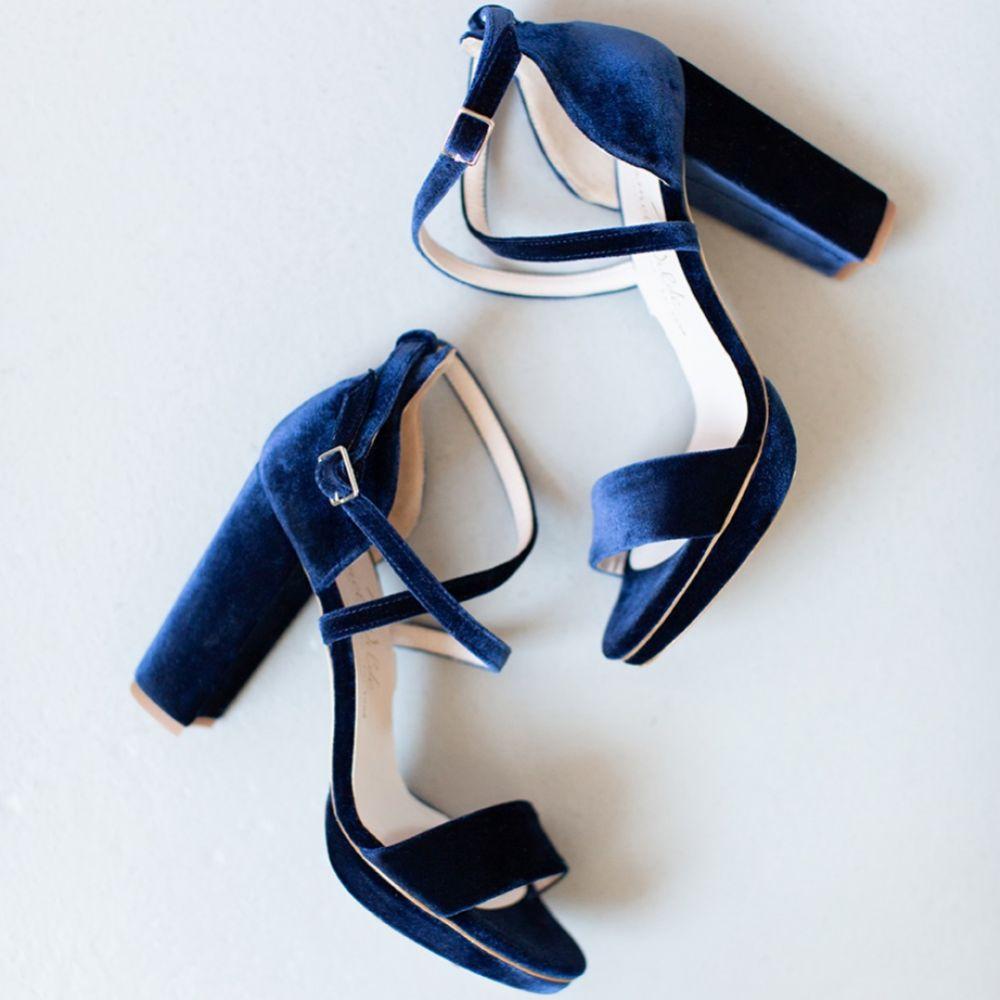 Harriet Wilde Arabella Block Midnight Velvet Platform Sandals